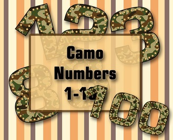"""Camo Numbers Clip Art /  100 pcs - 3.5"""" High, Vector PDF and PNGs"""