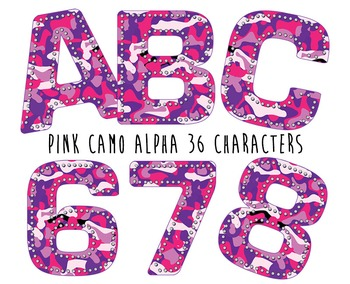 Camouflage Alphabet in Pink and Purple - Special Request - 36 Characters