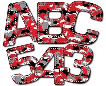 Camouflage Alphabet in Red and Black - Special Request - 36 Characters