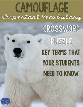 Camouflage Crossword for Adaptations & Ecosystems Vocabulary