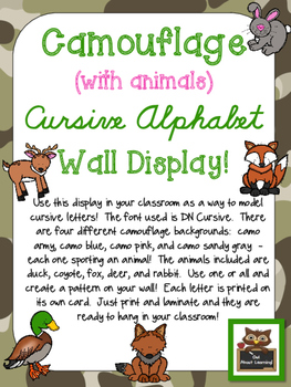 Camouflage Cursive Alphabet Wall Display