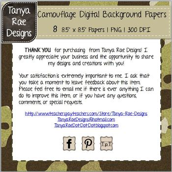 Camouflage Digital Background Papers