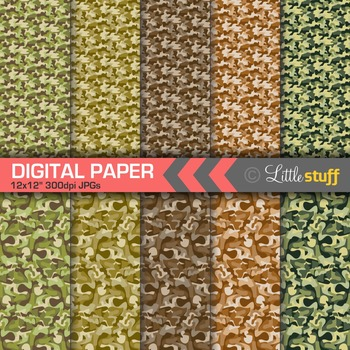 Camouflage Digital Paper, Brown and Green Camo Patterns