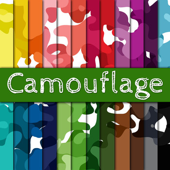 Camouflage - Digital Paper Pack - 24 Different Papers - 12 x 12