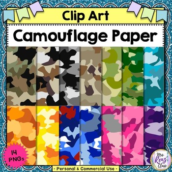 Camouflage Paper  Clip Art Paper Set (Personal and Commercial use)
