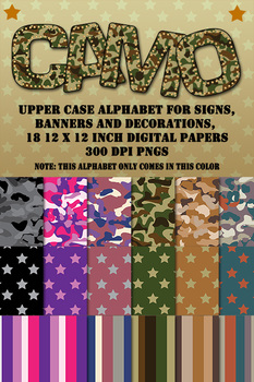 Camouflage Digital Papers and One Alphabet With Brass Studs - Camo Clip Art