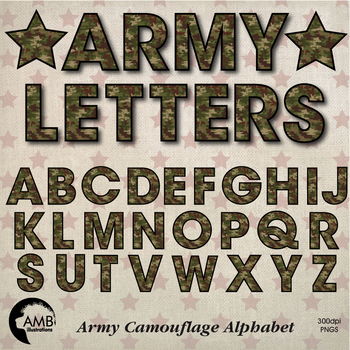 Camouflage Letters and Numbers Clipart Bundle Camo Clipart, AMB-1740