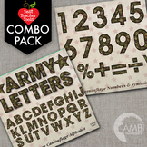 Camouflage Letters and Numbers Clipart Bundle Camo Clipart