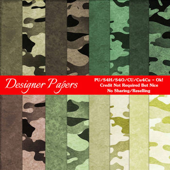 Camouflage Scrapbook size Digital Papers Package 2