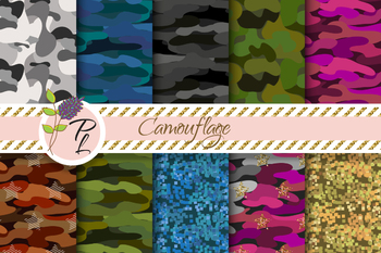 Camouflage Seamless Pattern Set. Digital paper pack.
