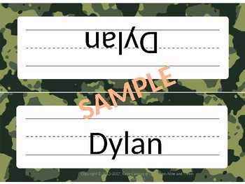 Camouflage Themed Desk Plates and More! (Editable)