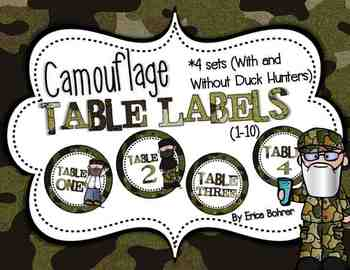 Camouflage and Duck Hunter Table Signs (1-10)
