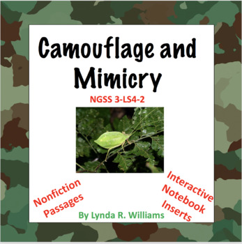 Camouflage and Mimicry Lessons NGSS 3-LS4-2