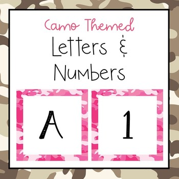 Camouflage letters and numbers for bulletin board, calendars, & class management