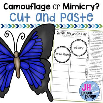 Camouflage And Mimicry Worksheets | Teachers Pay Teachers