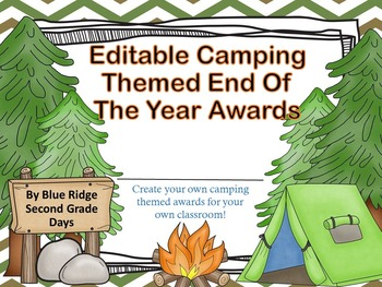 Camp Awards: Editable Camping Event, End Of The Year, or Summer Camp Awards