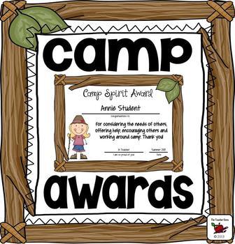 awards camp awards editable awards by the teacher gene tpt