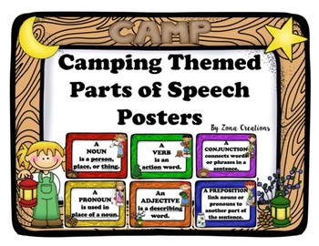 Camp Camping Themed Parts of Speech Posters