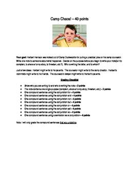 Camp Chaos: Compound Sentence Assessment