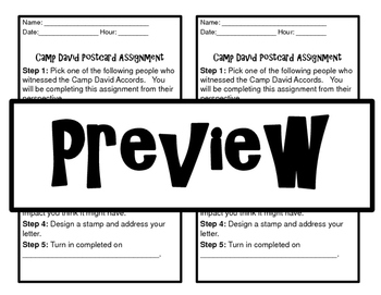 Camp David Accords Postcard Assignnment