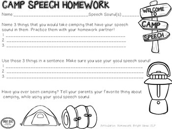 Camp Homework: Speech, Language and Fluency