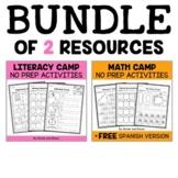 Camp Kindergarten Math and Literacy Bundle