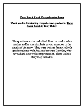 Camp Knock Knock Comprehension Packet