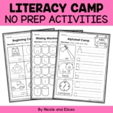 Camp Kindergarten No Prep Literacy Packet