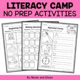 Camp Kindergarten No Prep Literacy Packet