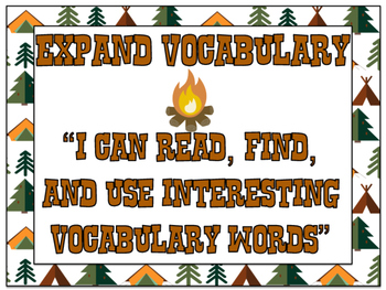 Camp Learn-A-Lot Expand Vocabulary Strategy Signs