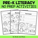 Preschool No Prep Literacy Packet