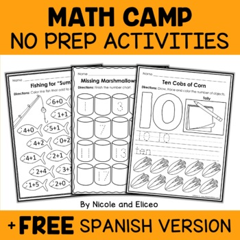 No Prep Math - Camp Theme Kindergarten Activities