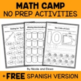 Camp Kindergarten No Prep Math Packet