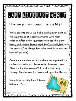 Camp Literacy Family Reading Night