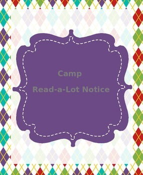 Camp Read-a-Lot Notice