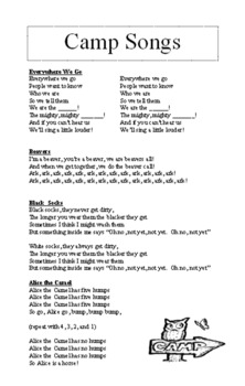 Camp Song Booklet for Outdoor Education