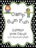 Camp Sum Fun Editable Notes