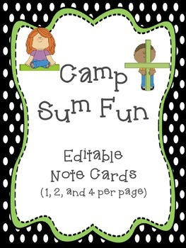Camp Sum Fun Editable Notes