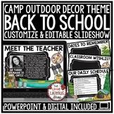 Camping Theme -Back To School PowerPoint - Meet The Teacher Template Editable