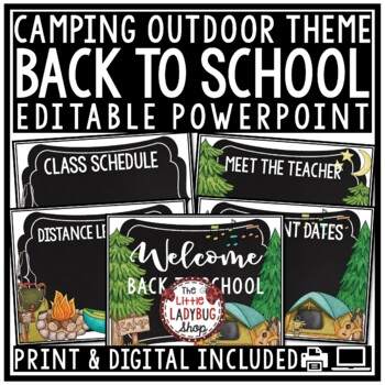 Camping Theme -Back To School PowerPoint - Meet The Teacher Template Editable