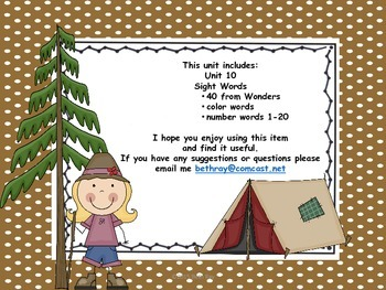 Camp Theme Focus Wall for Wonders Reading Kindergarten