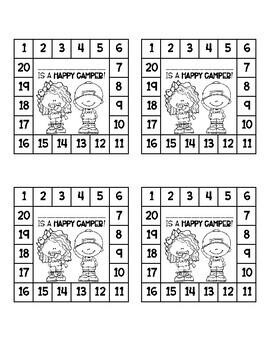 Camp Themed Behavior Punch Cards
