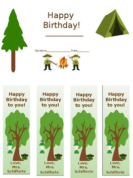 Camp Themed Birthday Certificate and bookmarks printable and editable