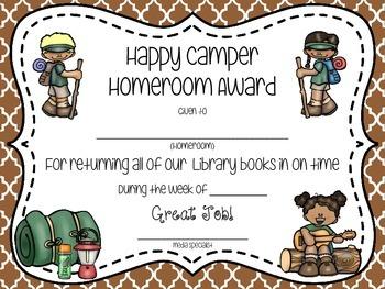Camp Themed Book Return Reward Bulletin Board Set