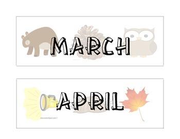 Camp Themed Calendar Months