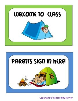 Camp Themed Class Signs (Classroom Camping Posters)