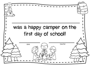 Camp Themed First Day of School Certificate