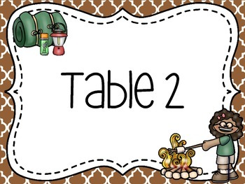 Camp Themed Group/Table Signs