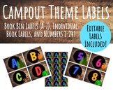 Camp Themed Labels: Book Bin & Individual Book, Word Wall,