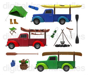 Camp Truck Clipart - Canoe in Truck Digital Graphic